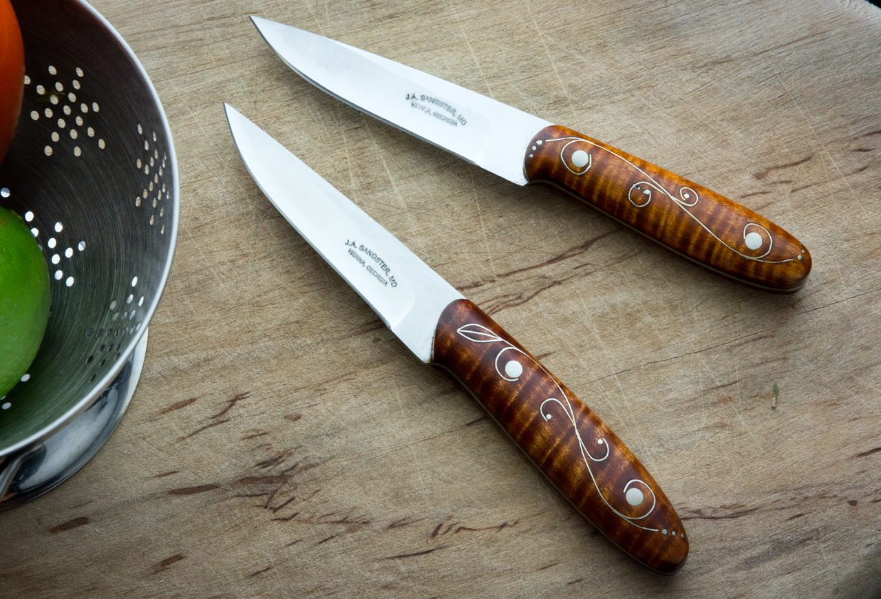 Stainless Steel Curly Maple Kitchen Paring Knives