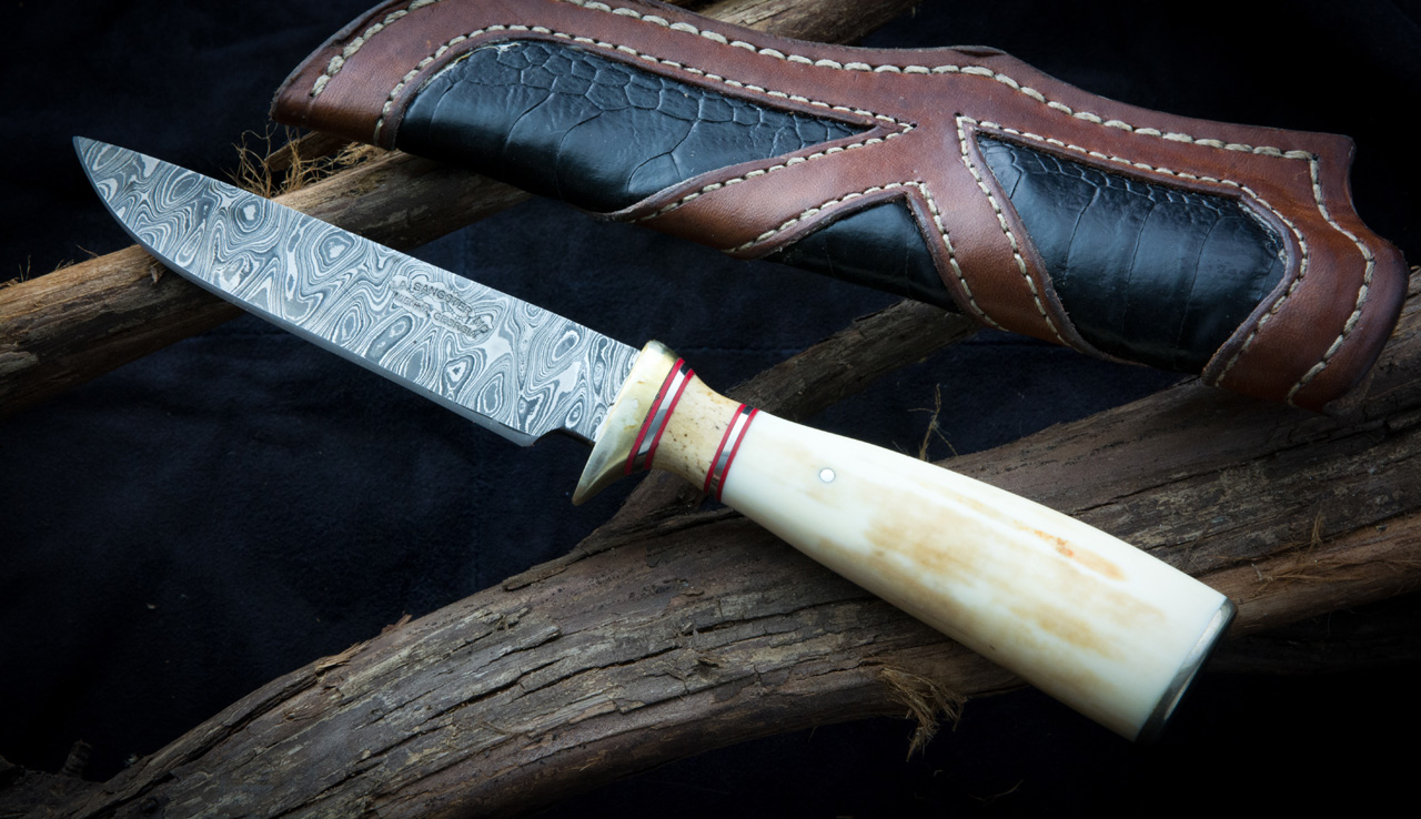 Fixed Blade Ancient Walrus Ivory Damascus Hunter Knife