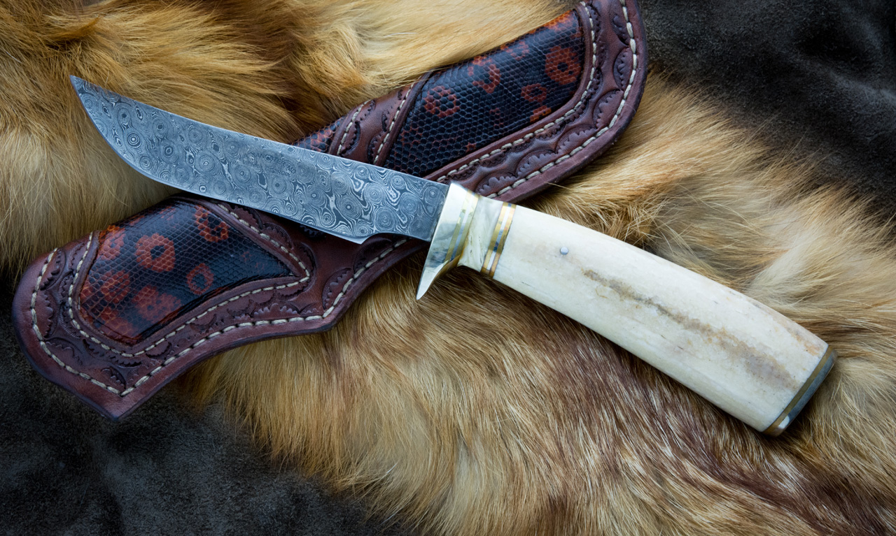 Fixed Blade Walrus Ivory Damascus Hunter Knife